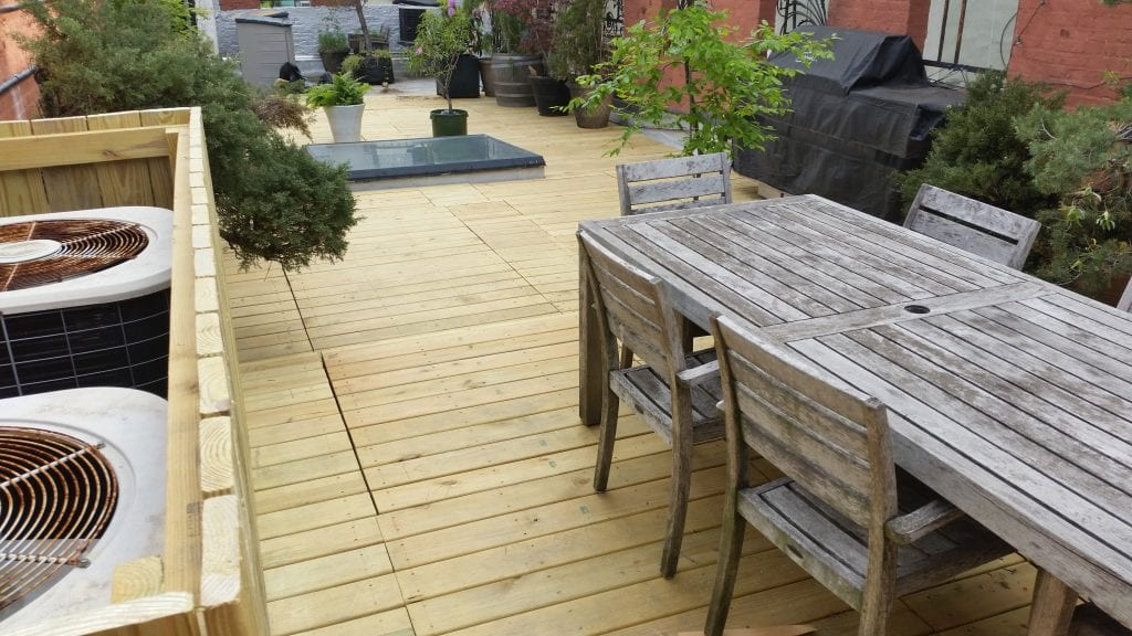 Treated wood decking