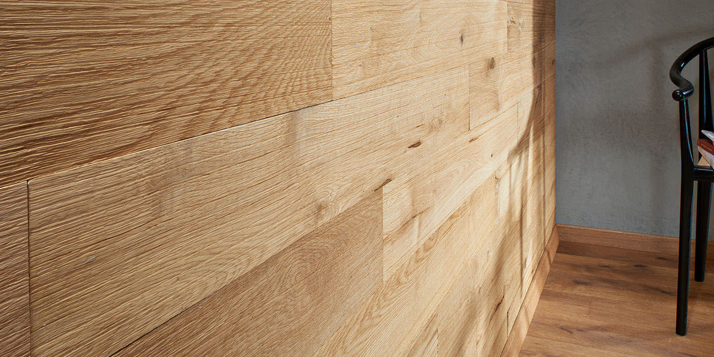 Natural wood wall panelling